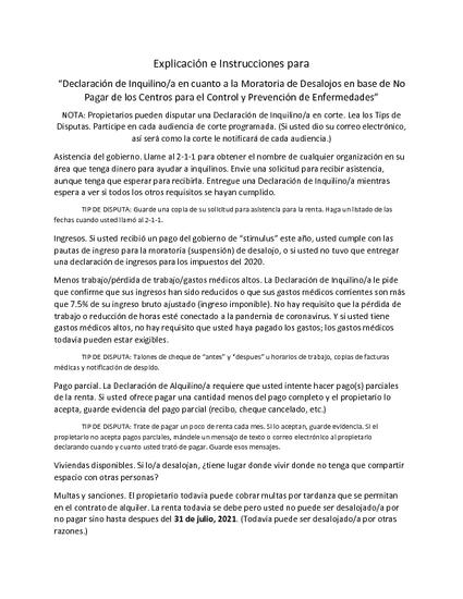 Declaración de Inquilino/a en cuanto a la Moratoria de Desalojos en base de No  Pagar de los Centros para el Control y Prevenció