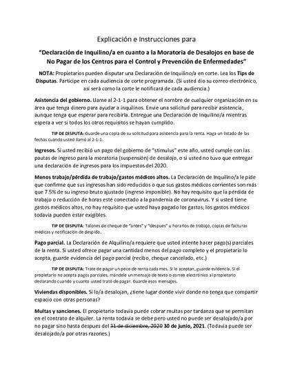 Declaración de Inquilino/a en cuanto a la Moratoria de Desalojos en base de No Pagar de los Centros para el Control y Prevención